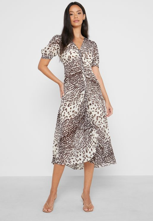 Ruched Front Animal Print Dress