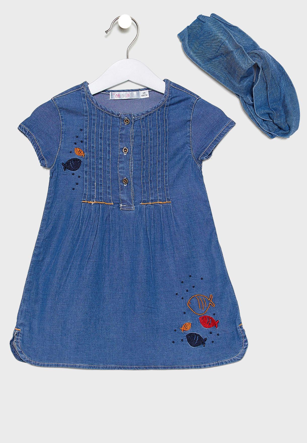 Little Button Detail Denim Dress + Headband Set