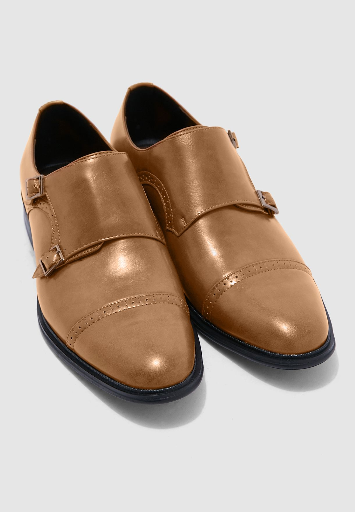 Brogue Monk Slip Ons
