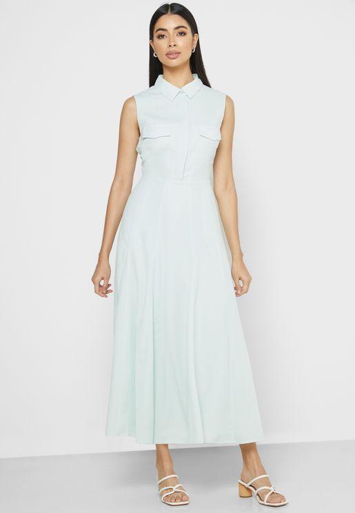 Pleated Placket Dress