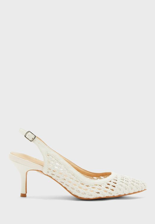 Weaved Pointed Slingback Kitten Heel Pump