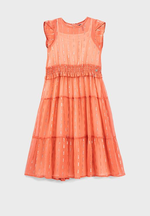 Youth Shirred Tulle Dress