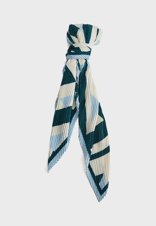 Trian Printed Pleated Scarf