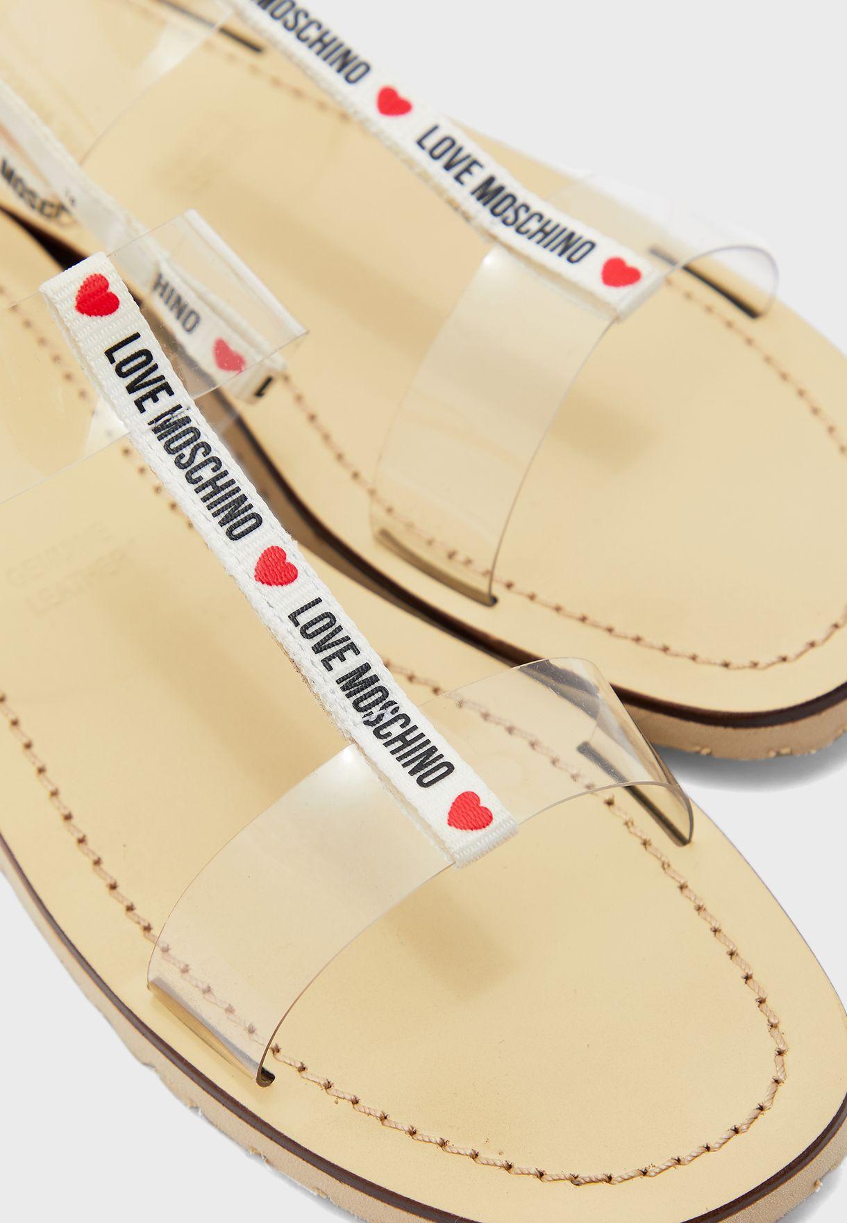 Ankle Strap Flat Sandal - Transparent