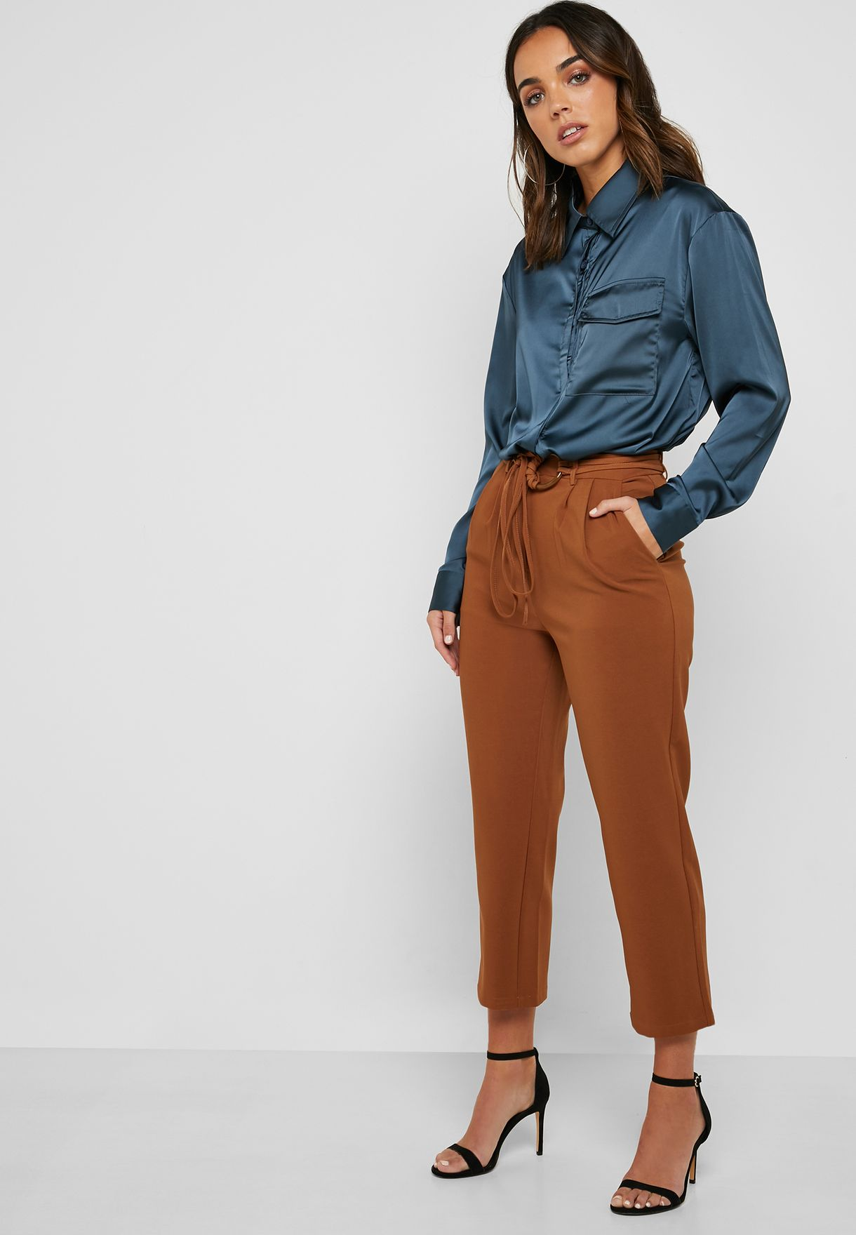 cb5d4b5751cb80 Shop Ella Brown Ring Belted Cropped Pants Y8297 for Women in UAE ...