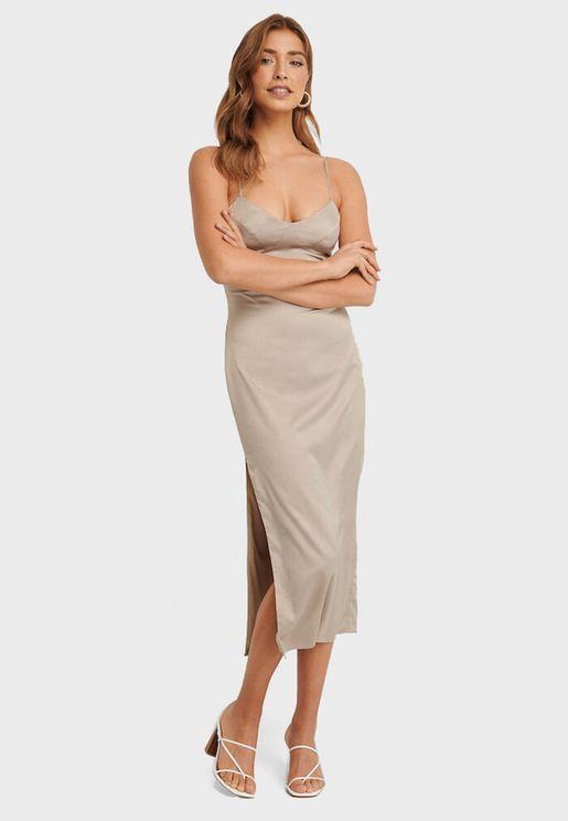 Side Slit Cami Strap Dress