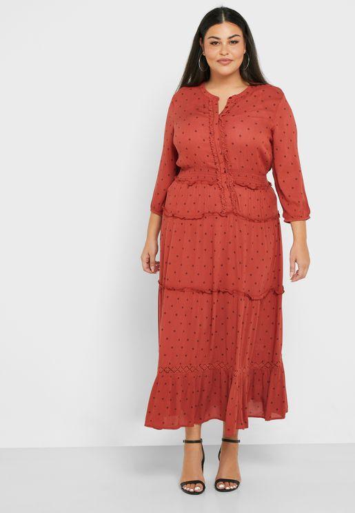 فستان منقط باطراف مكشكشة