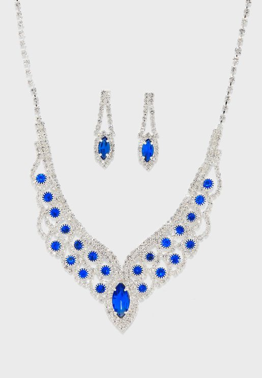 Teardrop Blue Stone and Diamante Necklace And Earring Set