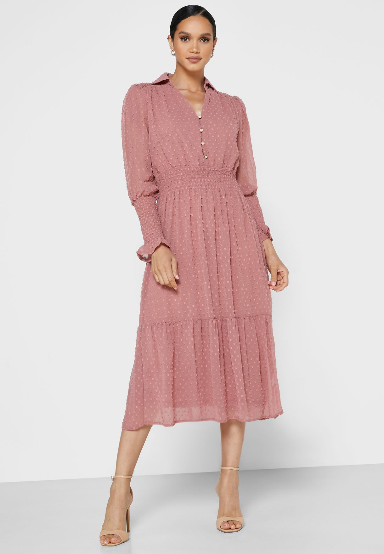 Front Button Dobby Dress
