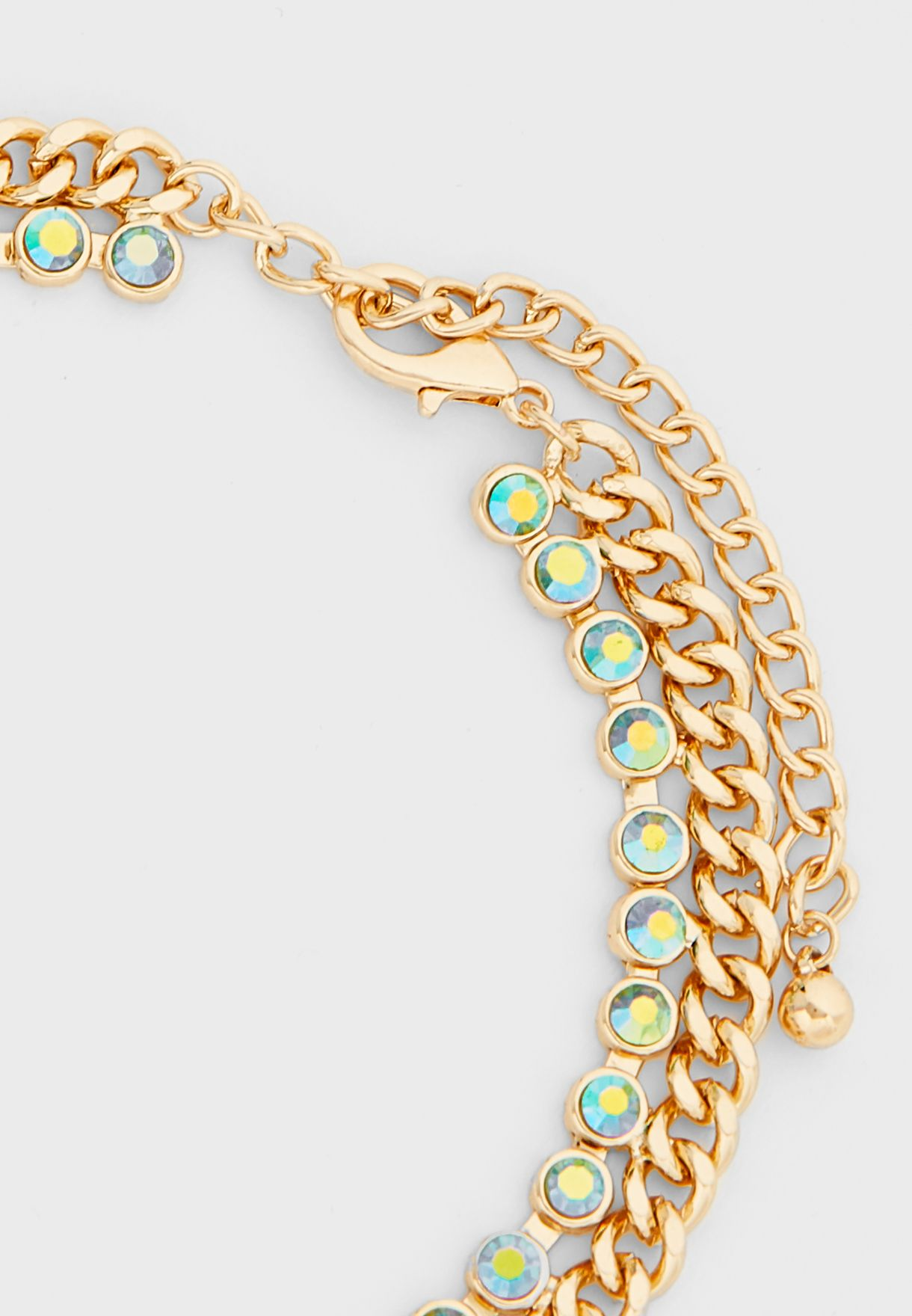 Chain With Iridescent Trim Choker Necklace