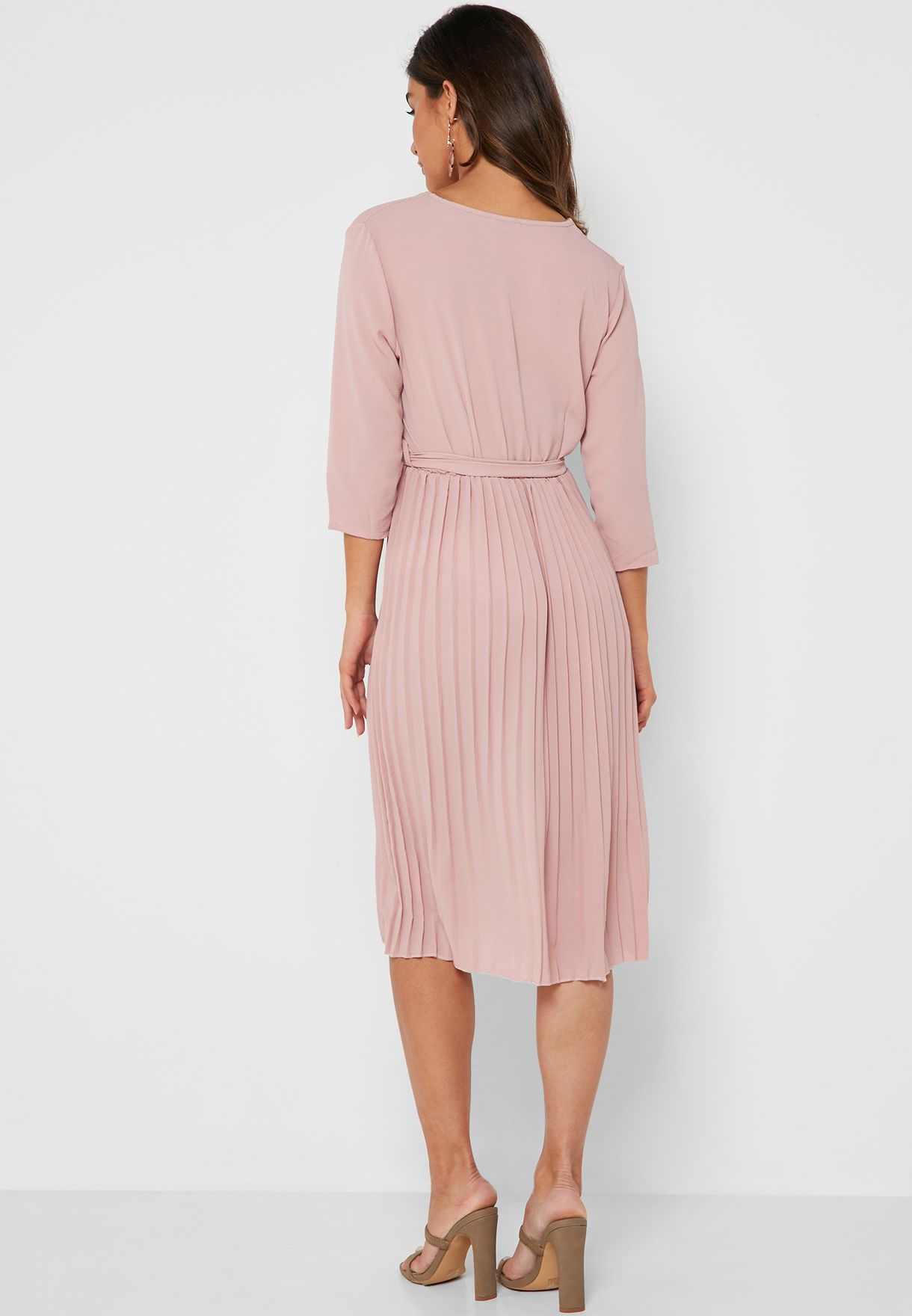 Wrap Front Pleated Skirt Midi Dress