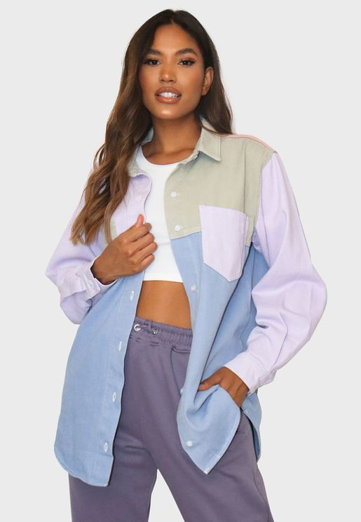 Oversized Colorblock Denim Shirt