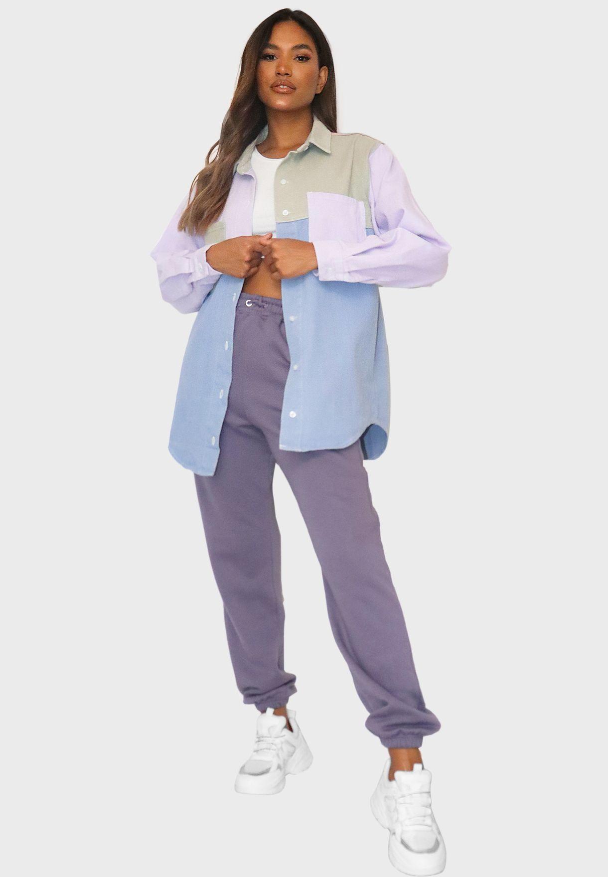Oversized Color block Denim Shirt