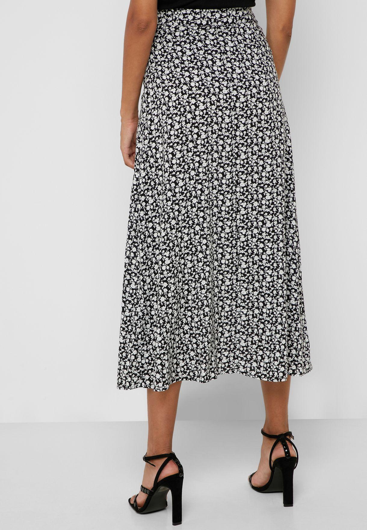 Front Slit Printed Skirt