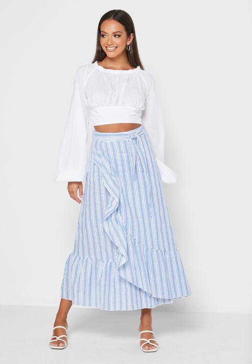 Ruffle Hem Stripped Skirt