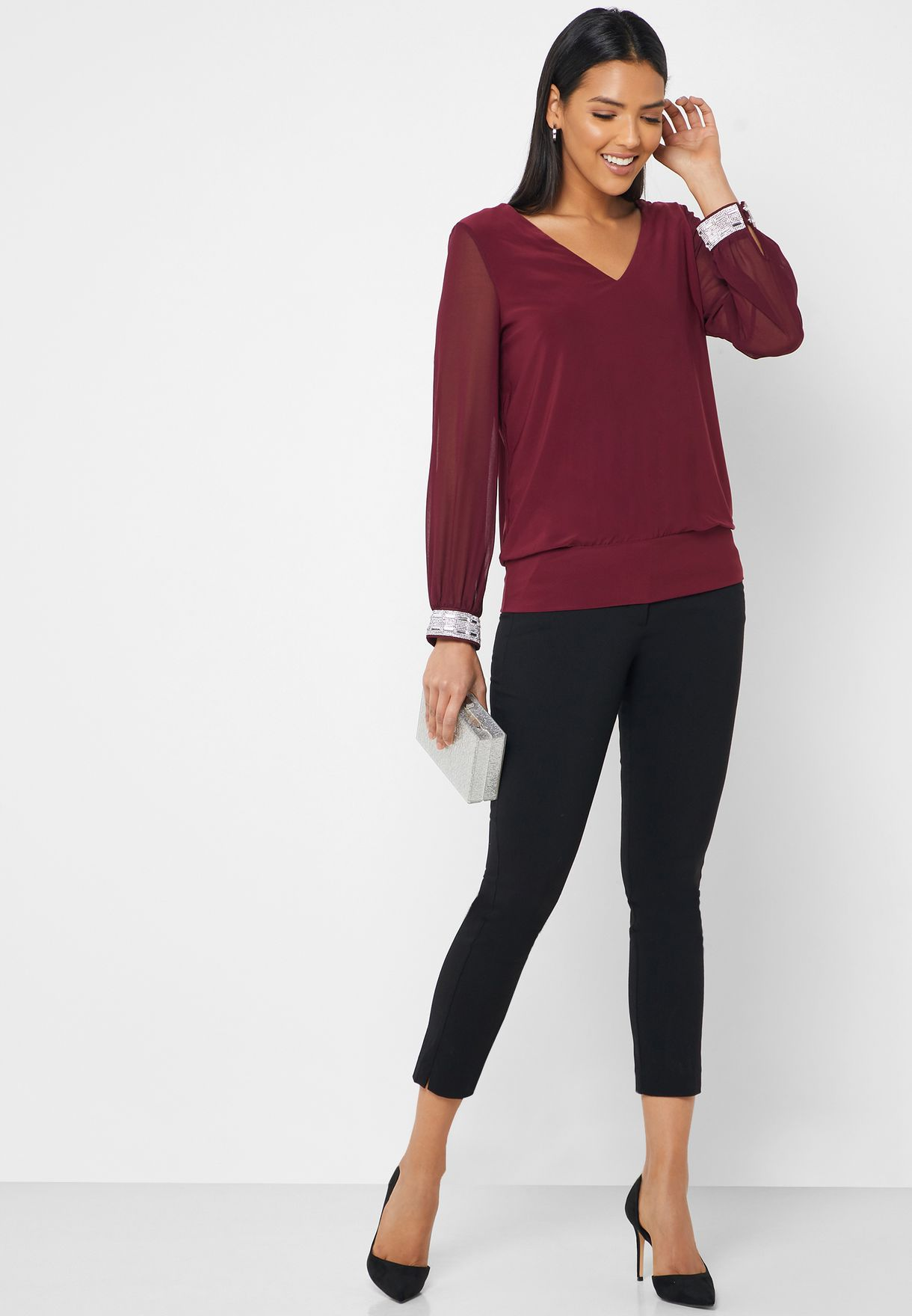 Contrast Cuff Pleated Top