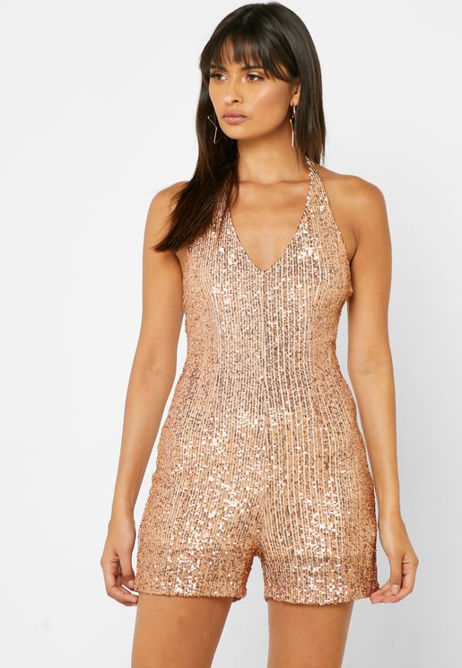 Sequin Halter Neck Playsuit