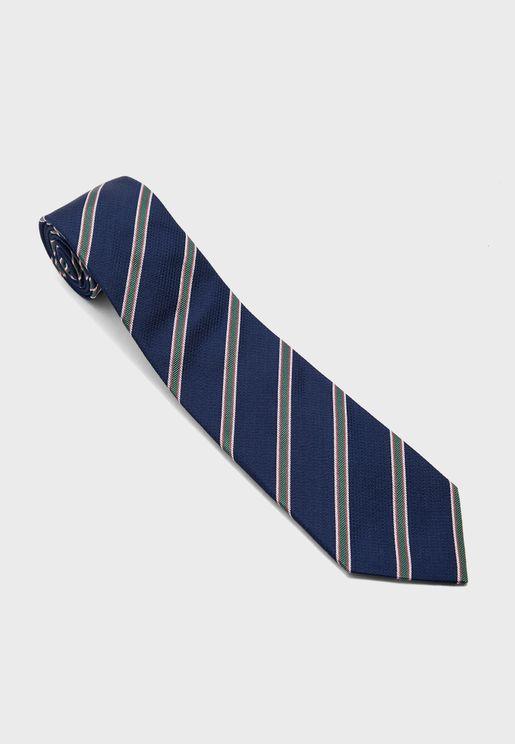 Three Colour Stripe Detail Tie