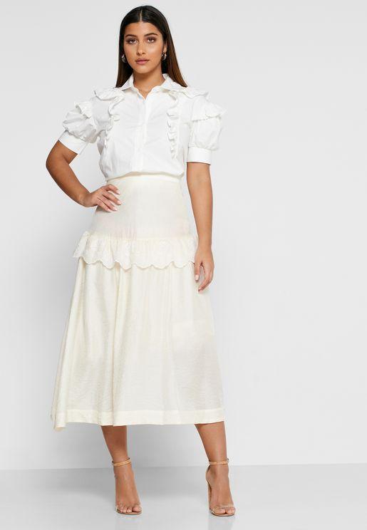 High Hopes Ruffle Trim Sheer Skirt