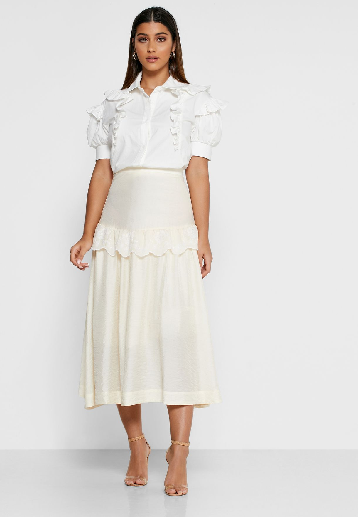 High Hopes Ruffle Trim Sheer Skirt
