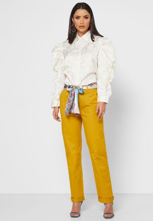 Contrast Self Tie Pants