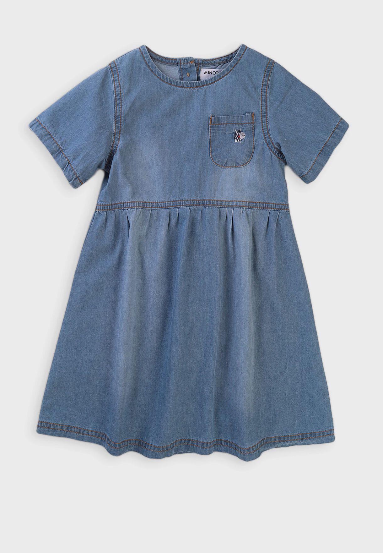 فستان جينز باكمام قصيرة