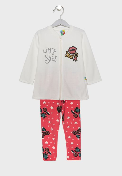 Little Jacket + Printed Pants Set