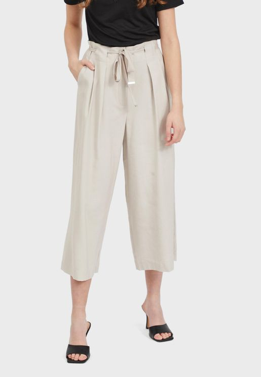 Belted Cropped Wide Leg Pants
