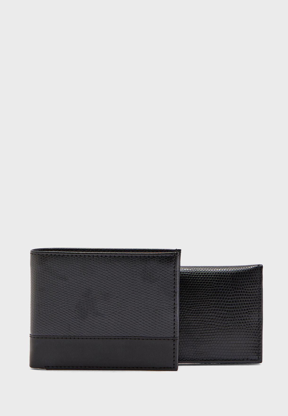 طقم هدايا 2 في 1 محفظة نقود ومحفظة بطاقات