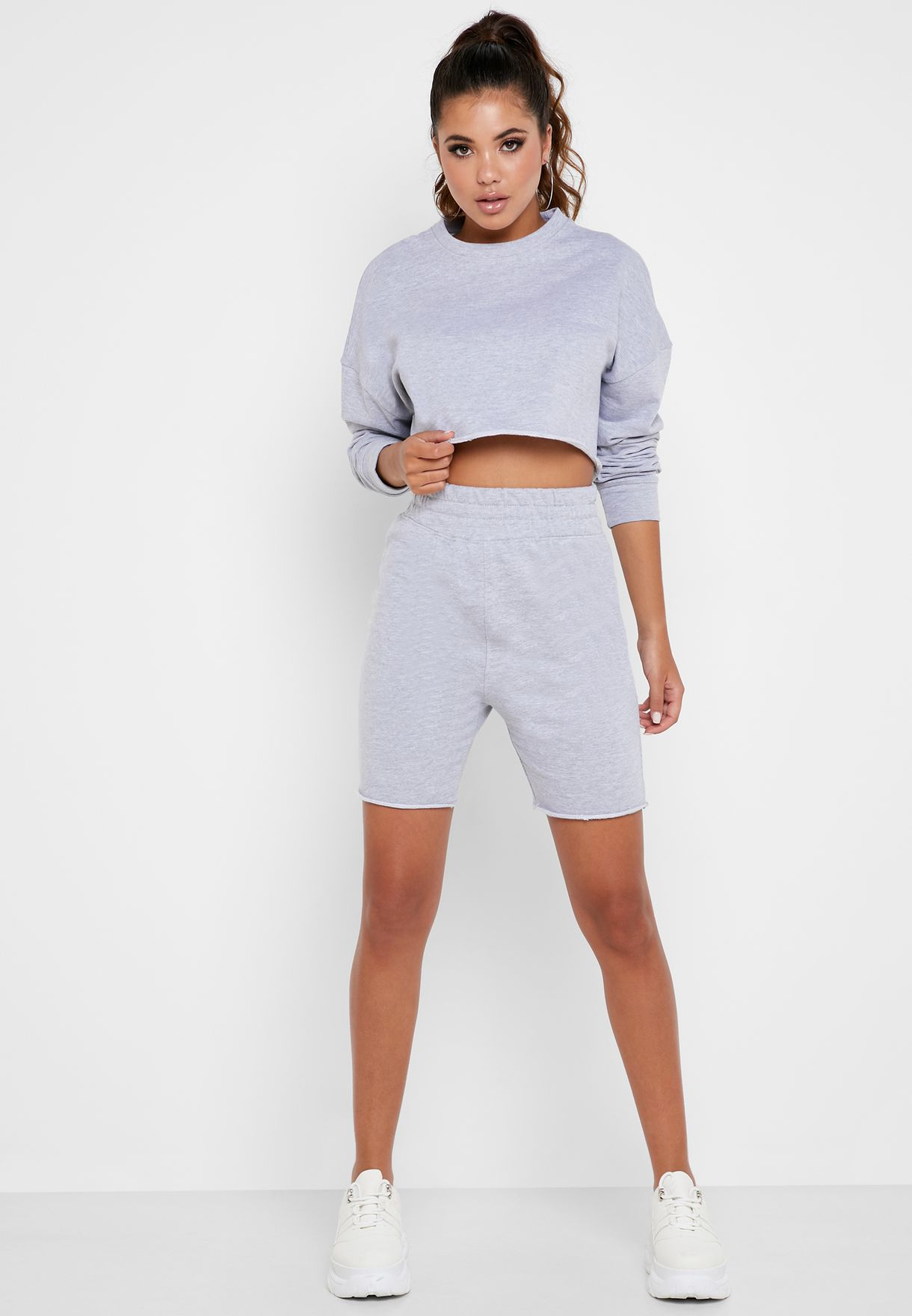 Cropped Sweater & Cycling Shorts