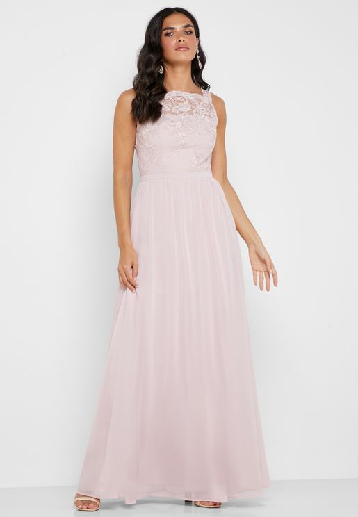 Embroidered Mesh Pleated Dress