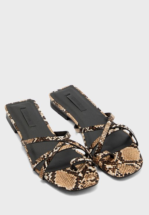 Snake Print Toe Post Cross Strap Flat Sandal