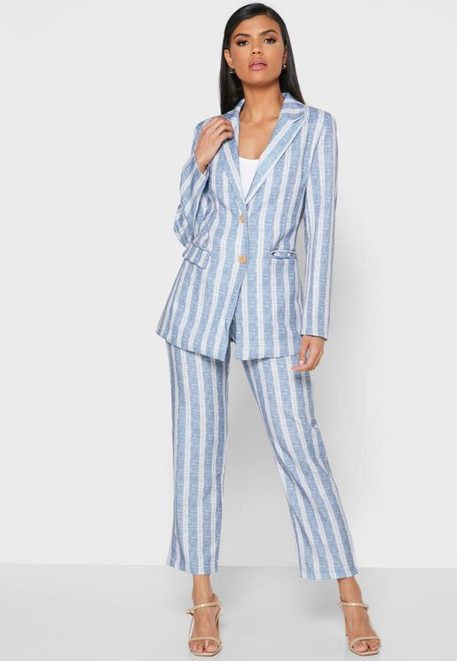 Striped Pocket Blazer Pants Set
