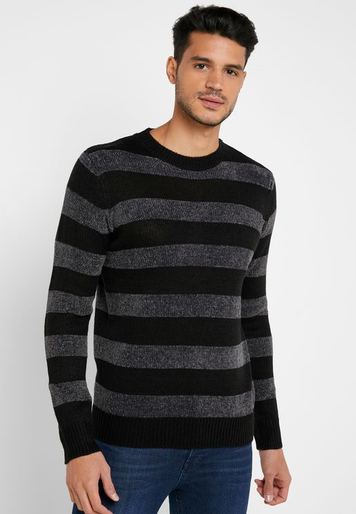 Stripe Crew Neck Knit