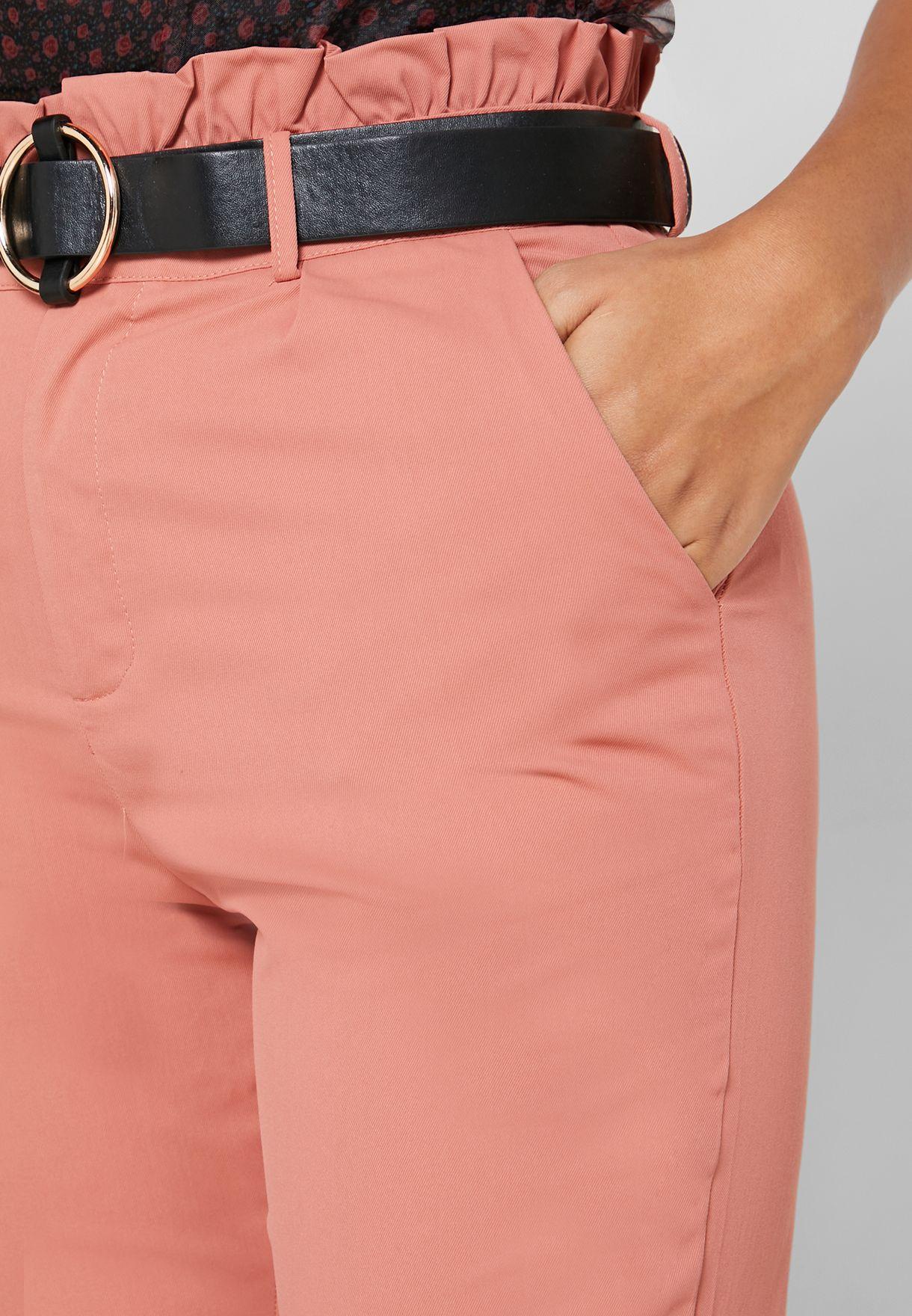 Paperbag Waist Belted Cigarette Pants