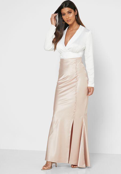 Button Detail Fishtail Skirt