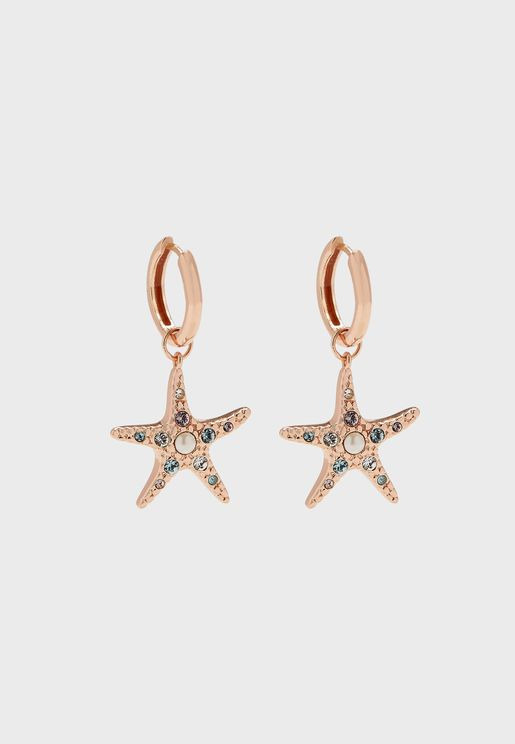 Starfish Sparkle Huggies Drop Earrings