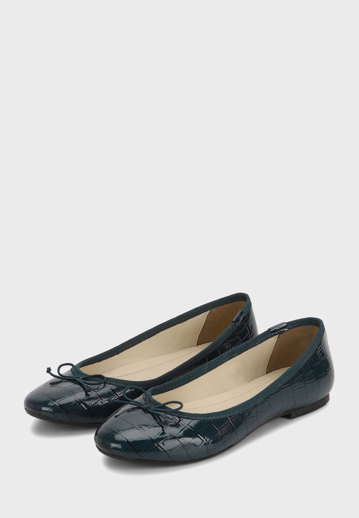 Bow Textured Ballerinas