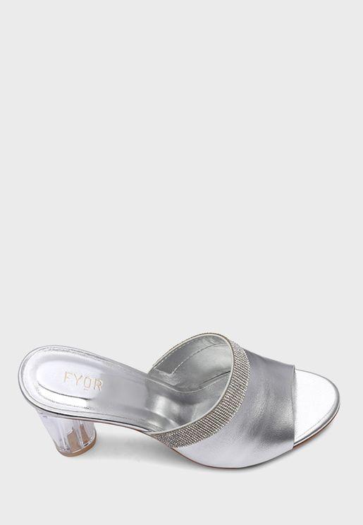 Round Heel Embellished Sandal