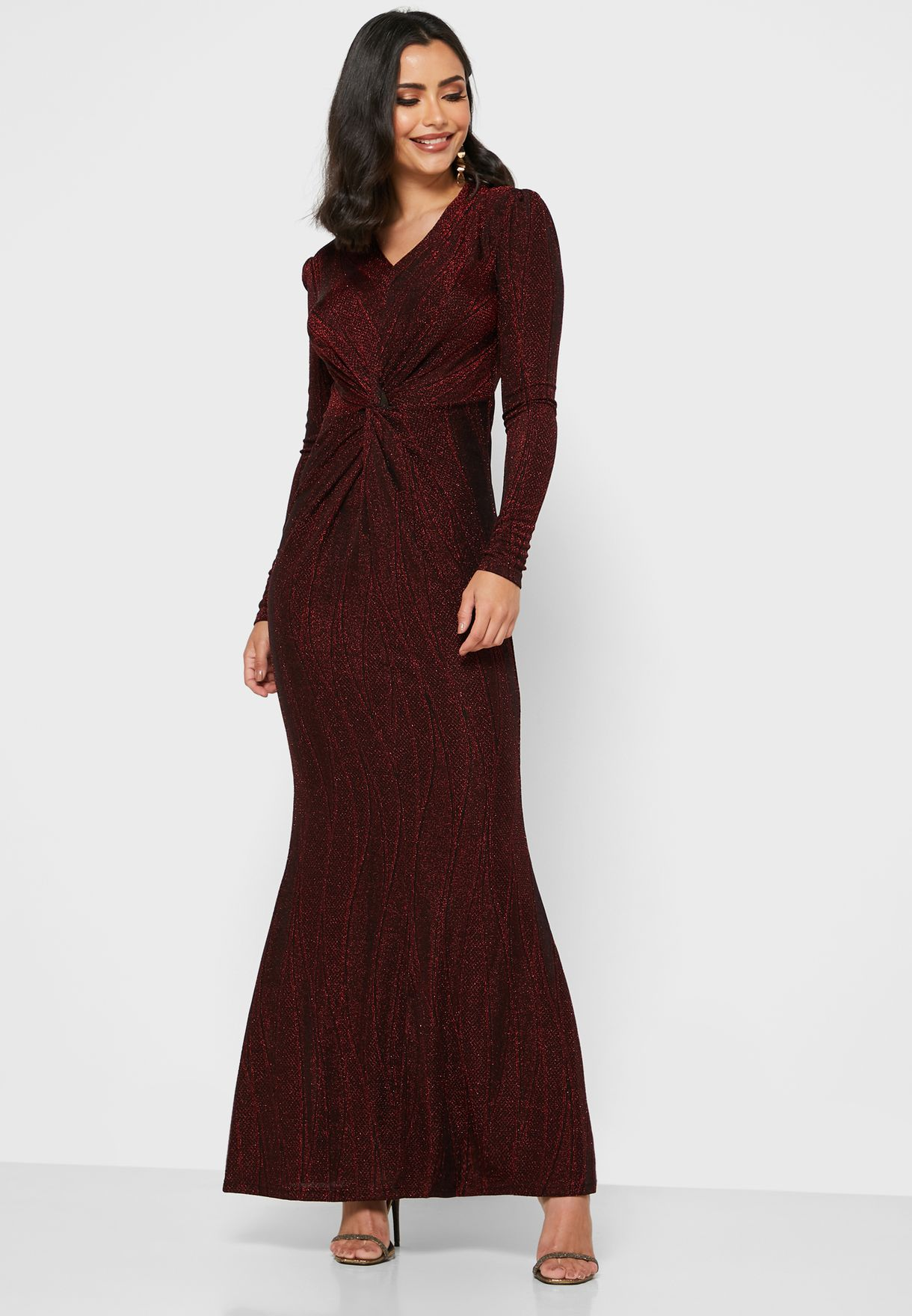 Metallic Ruched Front Maxi Dress