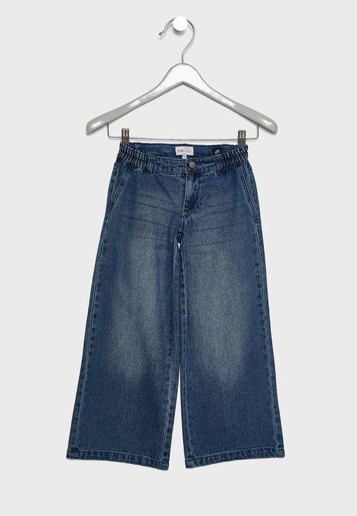 بنطال جينز بارجل واسعة