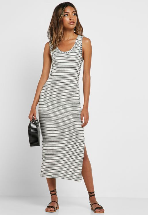 9675b4e08d Side Split Striped Dress