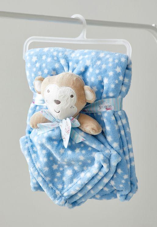 Monkey Comforter Blanket And Toy Set