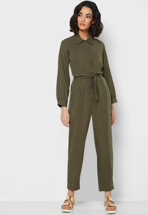 Button Down Belted Jumpsuit