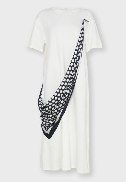Contrast Detail T-Shirt Dress