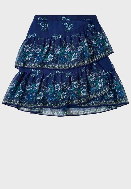 تنورة مزينة بطباعة ازهار