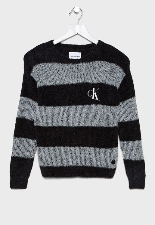 Kids Crew Neck Stripped Sweater