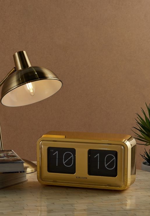 Bold Flip Gold Plated Table Clock