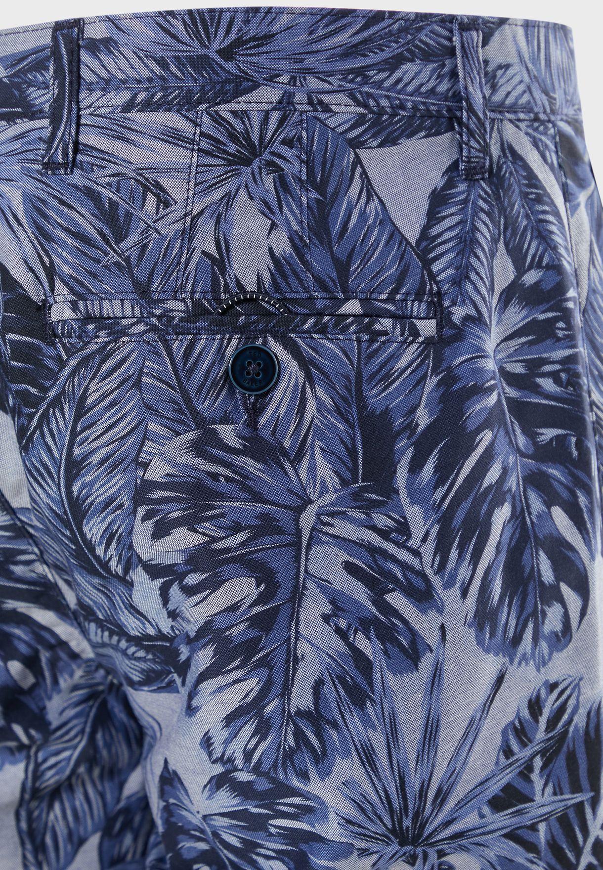 Bold Leaf Print Shorts
