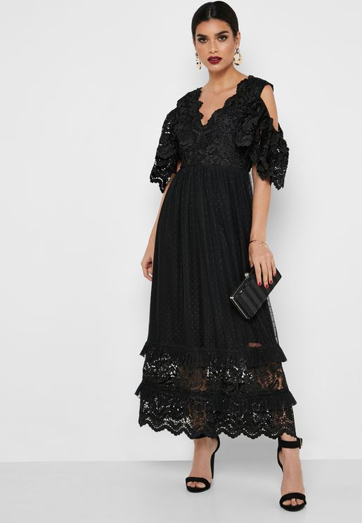 Layered Lace Cold Shoulder Dress